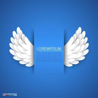 Künstliche weiße papierflügel auf blauem banner