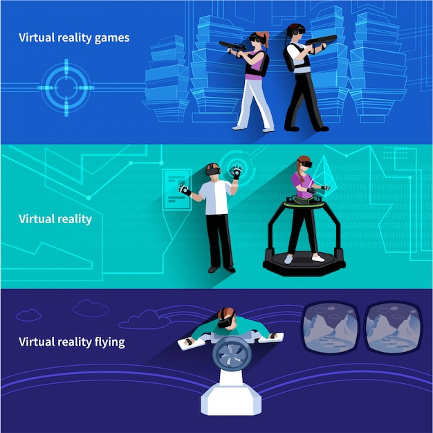 Künstliche welt der virtuellen realität 3 flache horizontale fahnen eingestellt mit militärischen spielen und fliegenden abstra