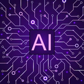 Künstlicher intelligenz dunkelvioletter hintergrund. maschinenprogrammierung und ai-chip auf dem computer. schaltung motherboard moderne technologie. vektor-illustration