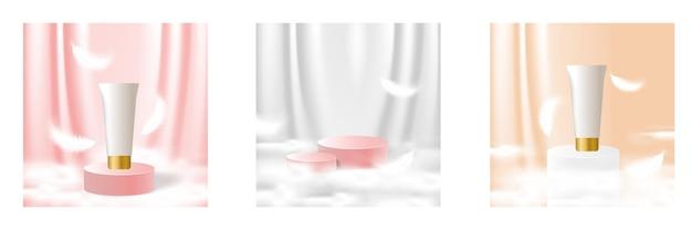 Künstliches bühnen-podium-bühnen-make-up für produkthintergrund mit flauschigem wolkenvorhang und feder