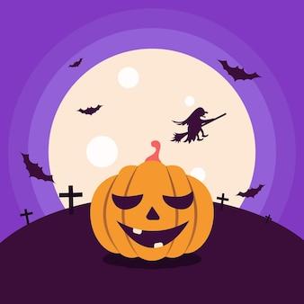 Kürbis auf dem hintergrund des mondes fledermäuse hexe im himmel flache vektorgrafik für halloween