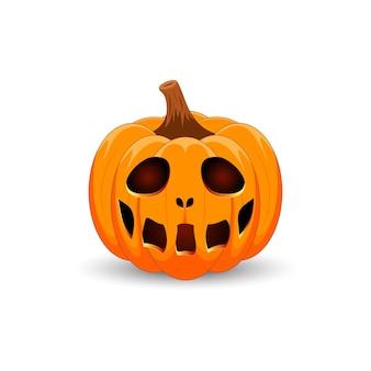 Kürbis auf weißem hintergrund happy halloween urlaub scary orange kürbis mit lächeln