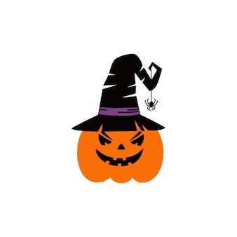 Kürbis auf weißem hintergrund orange kürbis mit lächeln für ihr design für den feiertag halloween