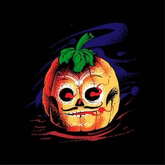 Kürbis dia de muertos illustration, perfekt für t-shirt, bekleidung oder merchandise design Premium Vektoren