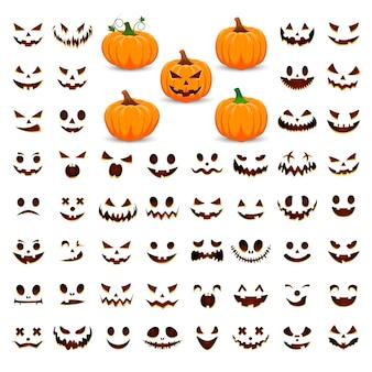 Kürbis einstellen. fröhliches halloween. orange kürbis mit lächeln.