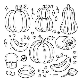 Kürbis halloween hand zeichnung doodle set sammlung