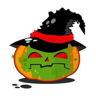 Kürbis im hexenkostüm. vektorcharakter für halloween isoliert.