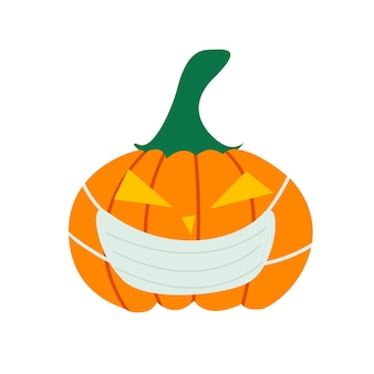 Kürbis in einer medizinischen maske ein symbol für den halloween-urlaub