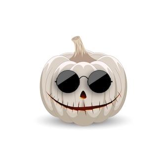 Kürbis in schwarzer sonnenbrille auf weißem hintergrund hipster weißer kürbis mit lächeln