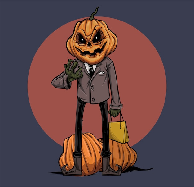 Kürbis-jack-illustration, die zu einer halloween-show geht