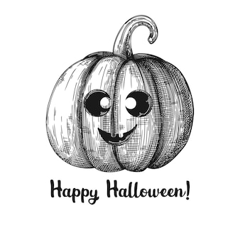 Kürbis mit einem lächelnden gesicht. halloween kürbis. fröhliches halloween. illustration.