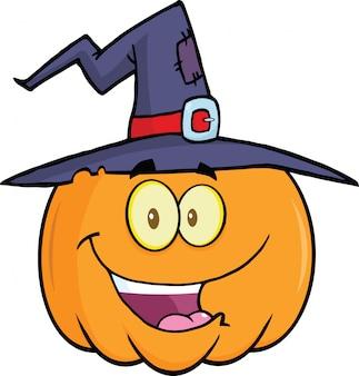 Kürbis mit einer hexe hat cartoon mascot illustration