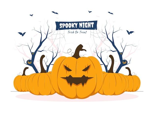 Kürbis mit gruseligem ausdruck auf halloween-konzeptillustration