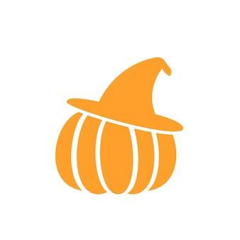 Kürbis mit hut, einfache vektor-halloween-illustration