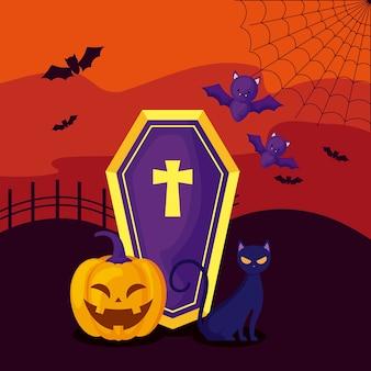Kürbis mit sarg und katze in der szene halloween