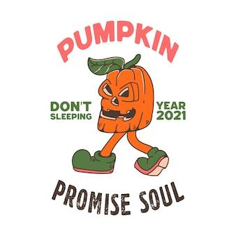 Kürbis mit schädel-illustrations-charakter glückliches halloween mit raben