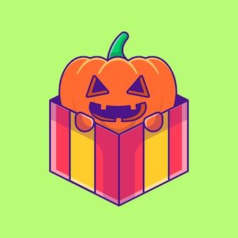 Kürbis-monster in der box-geschenk-cartoon-illustration. halloween-flaches cartoon-stil-konzept