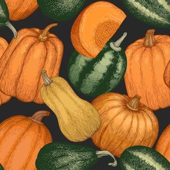 Kürbis nahtlose muster. vektor handgezeichnete illustrationen. thanksgiving-kulisse im retro-stil mit kürbisernte. herbst hintergrund.