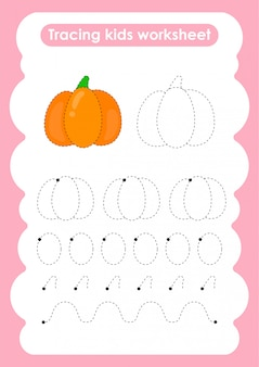 Kürbis - verfolgen sie das arbeitsblatt zum schreiben und zeichnen von linien für kinder