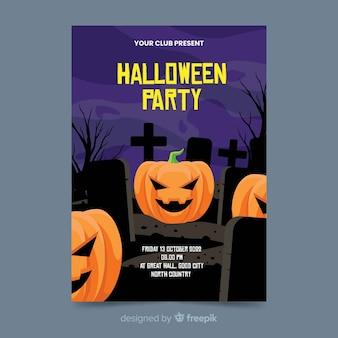 Kürbise in einem flachen halloween-plakat des kirchhofs