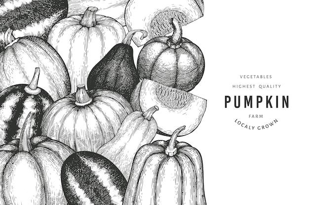 Kürbisfarbe-design-vorlage. vektor handgezeichnete illustrationen. thanksgiving-kulisse im retro-stil mit kürbisernte. herbst hintergrund.