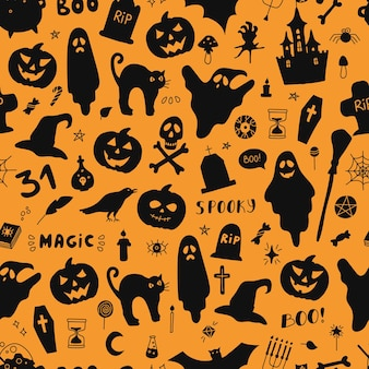 Kürbisgeister fledermaus und andere silhouetten für halloween vector nahtloses muster