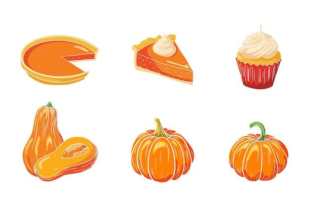 Kürbisgerichte eingestellt. frische reife kürbisse, kürbiskuchen und kleiner kuchen. traditionelle thanksgiving-lebensmittelkollektion für aufkleber, einladungen, menü- und grußkartendekoration. premium-vektor