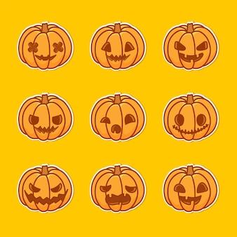Kürbisillustrationssatz mit verschiedenen gesichtern. das hauptsymbol des happy halloween-feiertags.