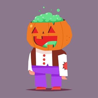 Kürbiskarikatur-halloween-charakter lokalisiert auf hintergrund.