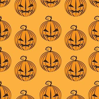 Kürbismuster nahtlos auf orange glücklichem halloween.