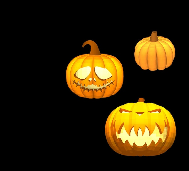 Kürbisse auf schwarzem hintergrund zur dekoration von feiertagsgrafiken für den halloween-urlaub