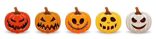 Kürbisse für halloween buntes set gruseliger und lustiger kürbisse für happy halloween