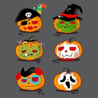 Kürbisse in verschiedenen kostümen vektor-zeichensatz für halloween auf hintergrund isoliert.
