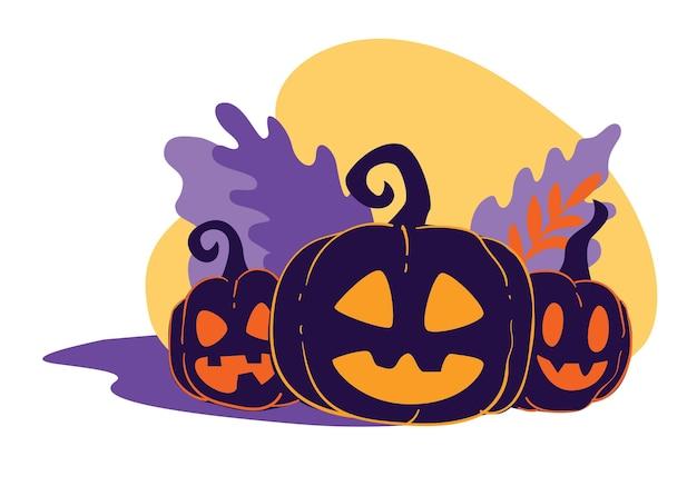 Kürbisse mit geschnitztem lächelndem gesicht, halloween-symbole. feier der herbstlichen feiertage allerheiligen. tradition der vereinigten staaten von amerika. laternen aus geerntetem gemüse, vektor in flach