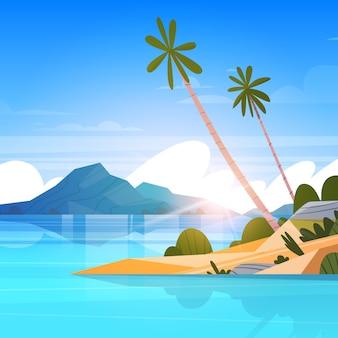 Küsten-landschaftssommer-tropischer strand mit palme-exotischem erholungsort-plakat