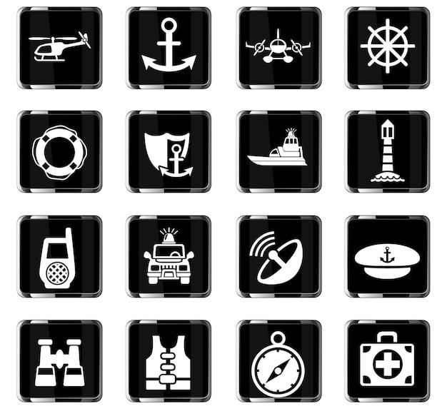 Küstenwache-websymbole für das design der benutzeroberfläche