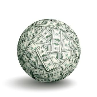 Kugel aus hundert dollarnoten
