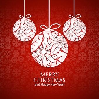 Kugel der frohen Weihnachten mit buntem Kartenhintergrund