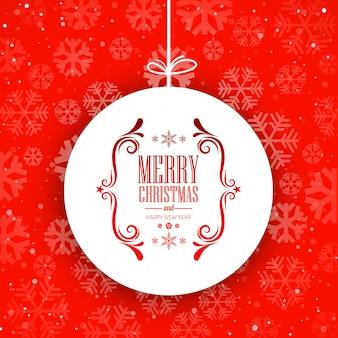 Kugel der frohen weihnachten mit schneeflockenhintergrundvektor