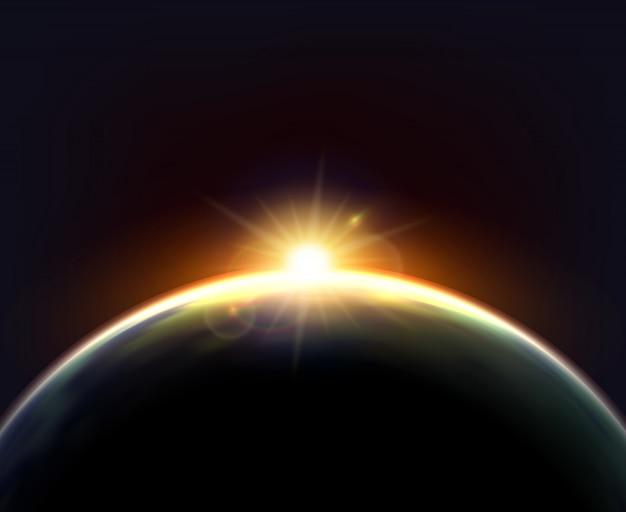 Kugel-erdsonnenlicht-dunkles hintergrund-plakat