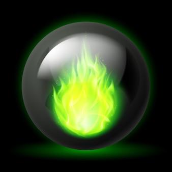 Kugel mit feuerflammen