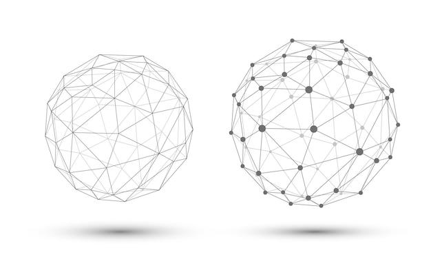 Kugel mit verbindungslinien und punkten. geometrischer hintergrund 3d für geschäfts- oder wissenschaftsdarstellung.