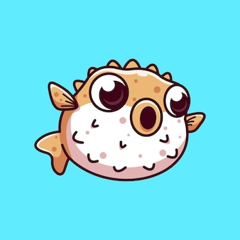 Kugelfisch kind cartoon vektor icon illustration flat cartoon style premium vektor icon konzept fr
