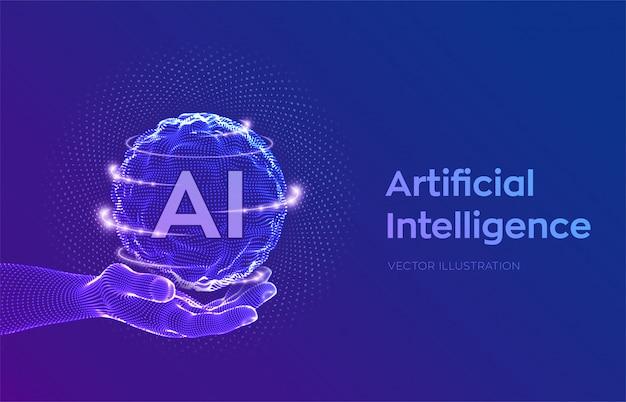 Kugelgitterwelle mit binärcode. ai artificial intelligence logo in der hand. konzept des maschinellen lernens.