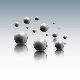 Kugeln in bewegung auf grauem hintergrund