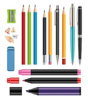 Kugelschreiber und bleistifte. farbige einzelteile des bürobriefpapierschuls der bildung helfen realistische sammlung 3d hölzerne bleistifte des plastikstiftes