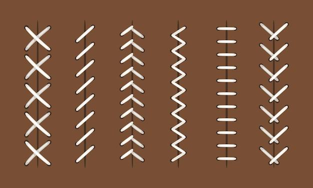 Kugelstiche. vektornahtmuster für baseball- oder hardball-, fußball- und basketball-lederbälle, sportobjekte, die texturen nähen