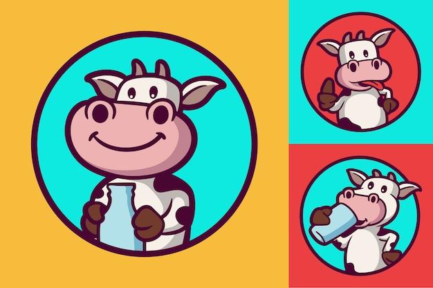Kuh hält flasche, glückliche kuh und kuh trinkt tierlogo-maskottchen-illustrationspaket