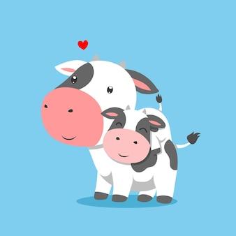 Kuh hebt seine kleine kuh auf den rücken