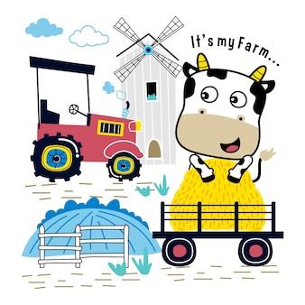 Kuh in der lustigen tierkarikatur des bauernhofes